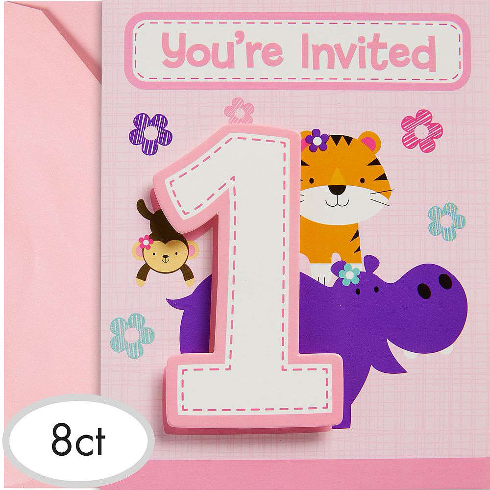 Pink One is Fun 1st Birthday Invitations 8ct Image #1