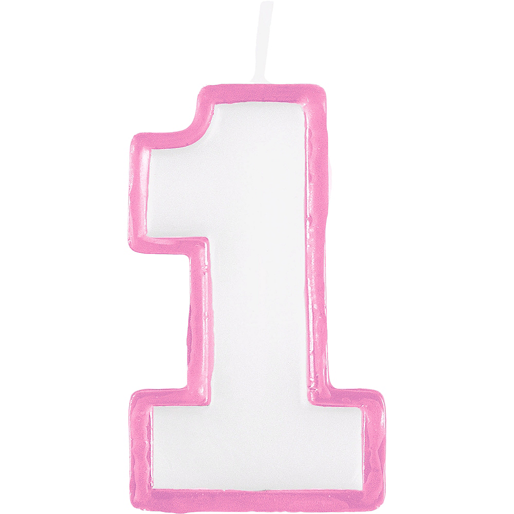 Pink Outline Number 1 Birthday Candle Image