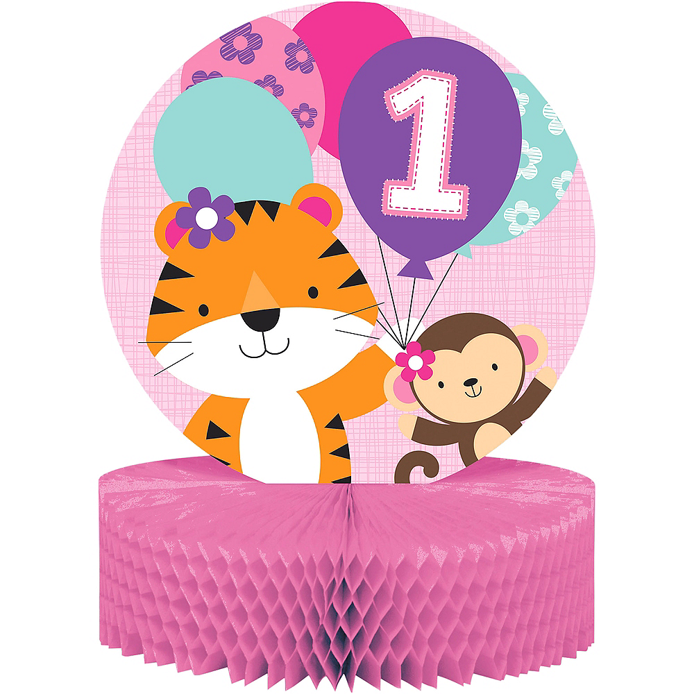 Pink One is Fun 1st Birthday Honeycomb Centerpiece Image #1