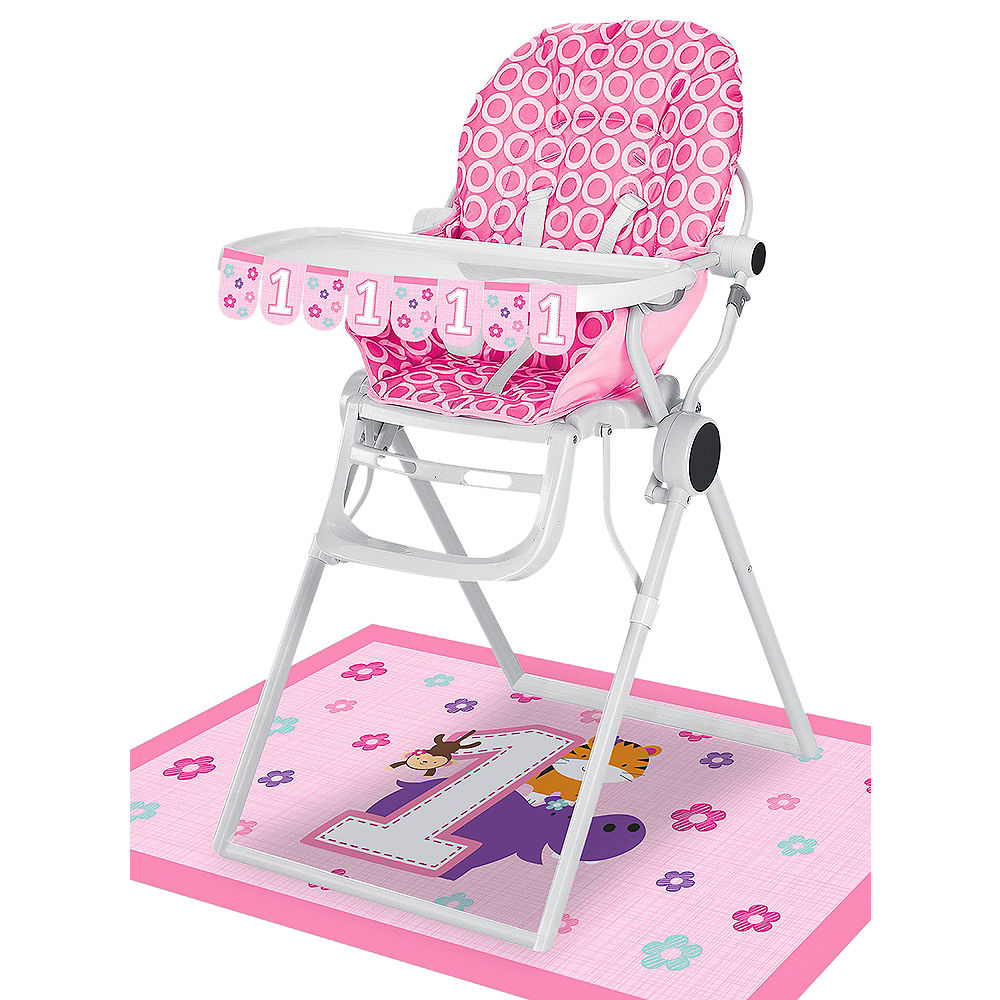 Pink One is Fun 1st Birthday High Chair Decorating Kit 2pc Image #1