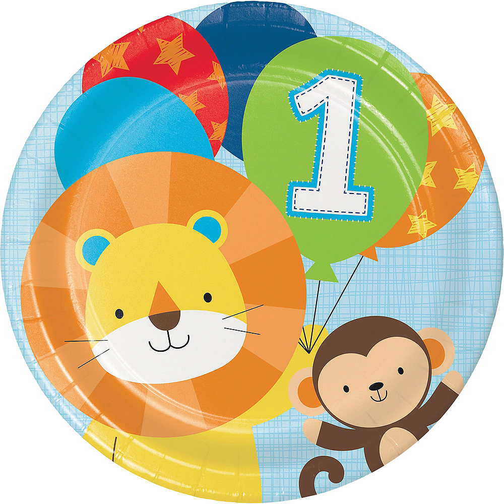 Blue One is Fun 1st Birthday Lunch Plates 8ct Image #1