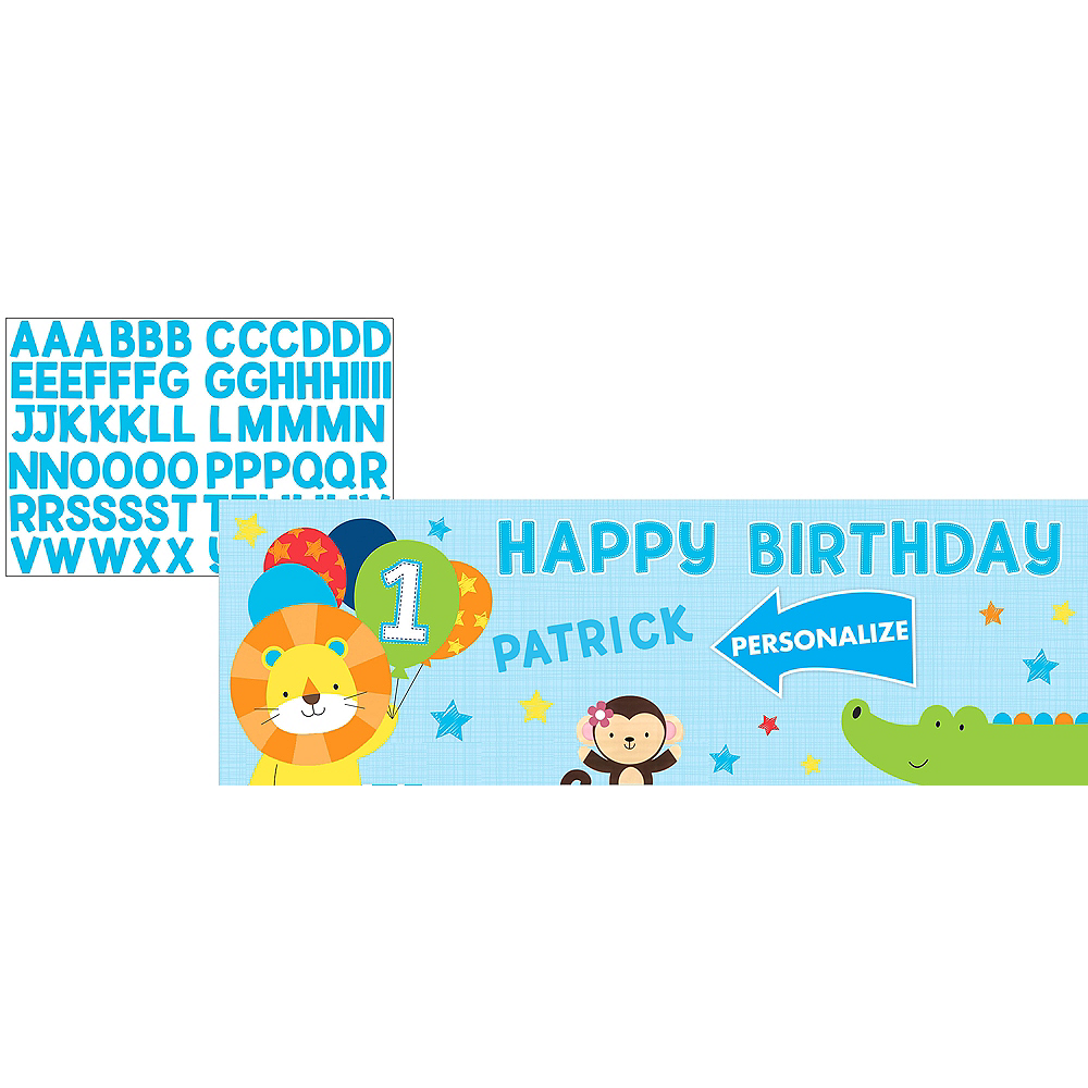 Giant Blue One is Fun 1st Birthday Banner Kit Image #1