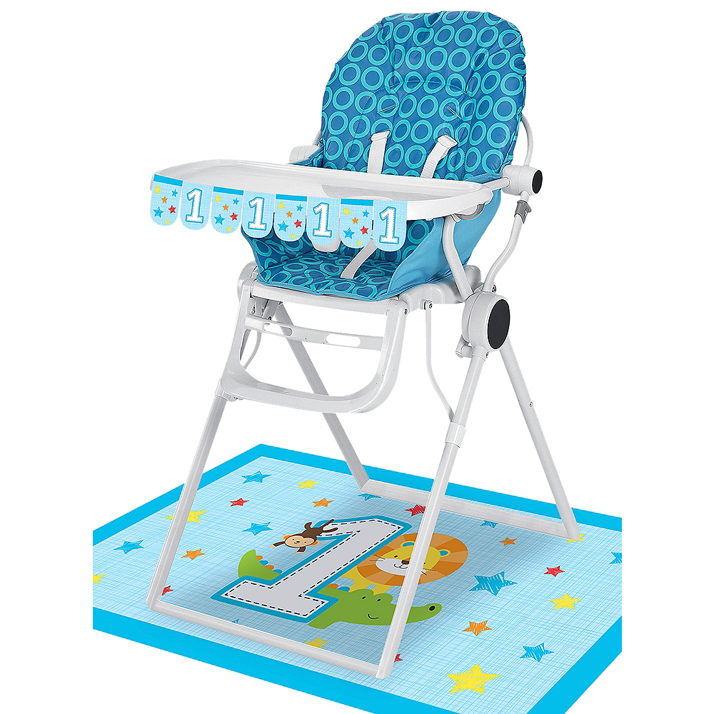 Blue One is Fun 1st Birthday High Chair Decorating Kit 2pc Image #1