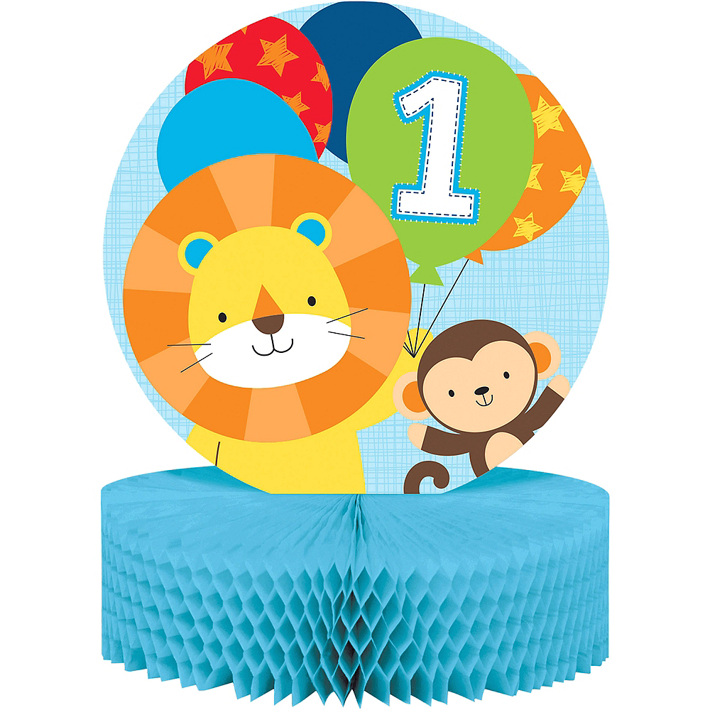 Blue One is Fun 1st Birthday Honeycomb Centerpiece Image #1