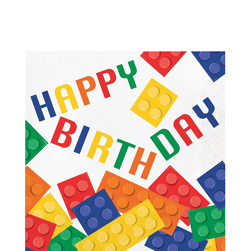 Building Blocks Birthday Lunch Napkins 16ct Image #1