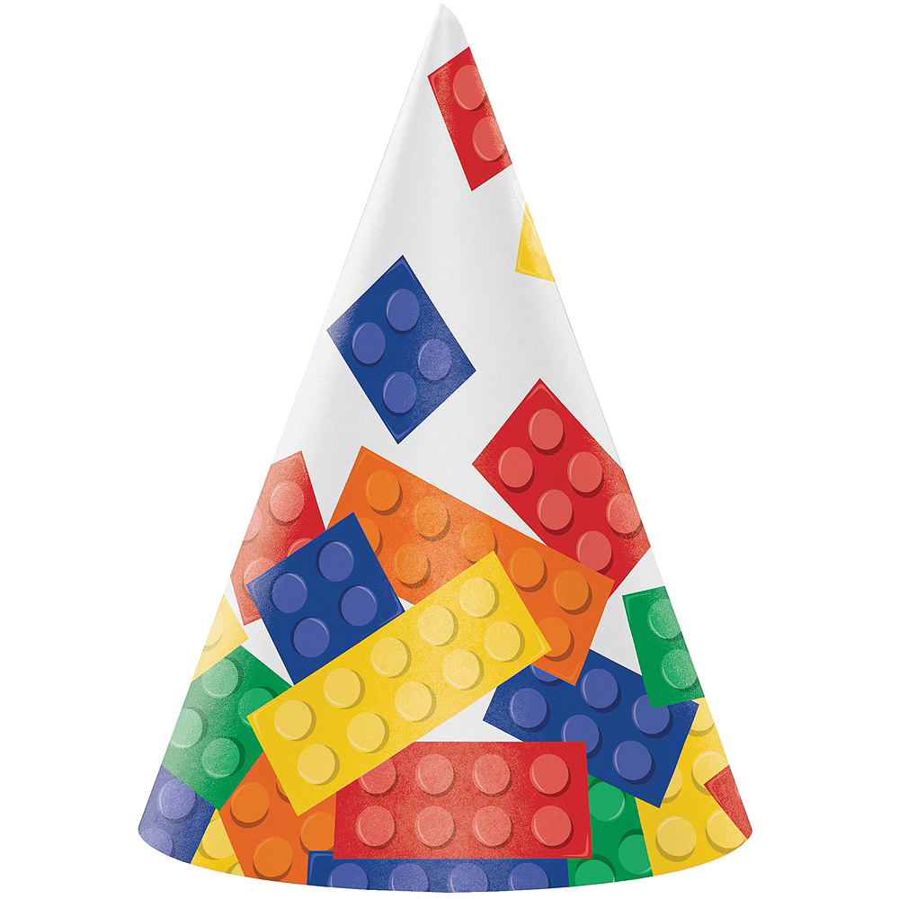 Building Blocks Party Hats 8ct Image #1