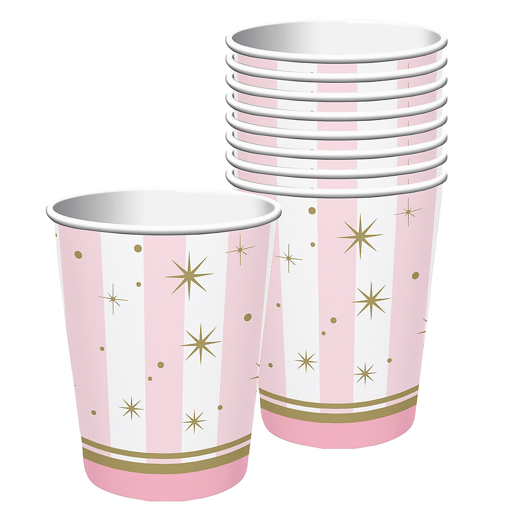 Pink Striped Cups 8ct Image #1