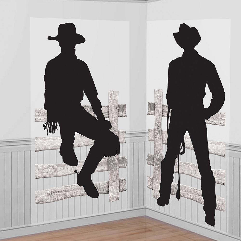 Silhouette Cowboy Scene Setter 2pc Image #1