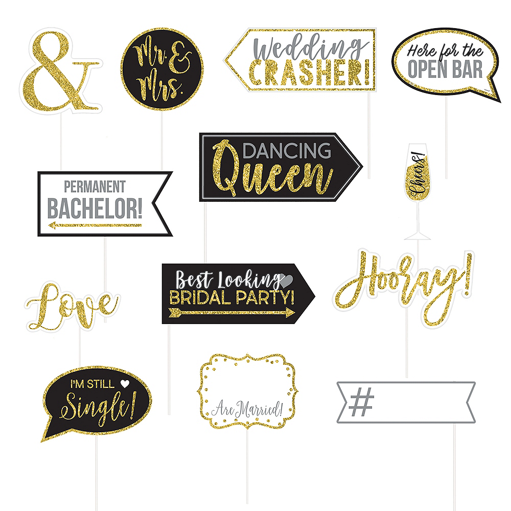 Glitter Gold Wedding Photo Booth Props 13ct Image #1