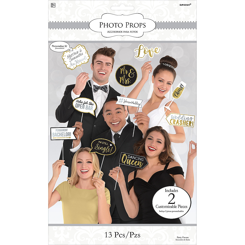 Glitter Gold Wedding Photo Booth Props 13ct Image #2