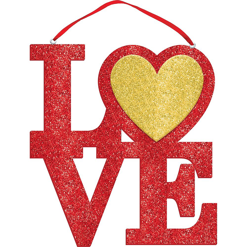 Glitter Red Love Block Letter Sign Image #1
