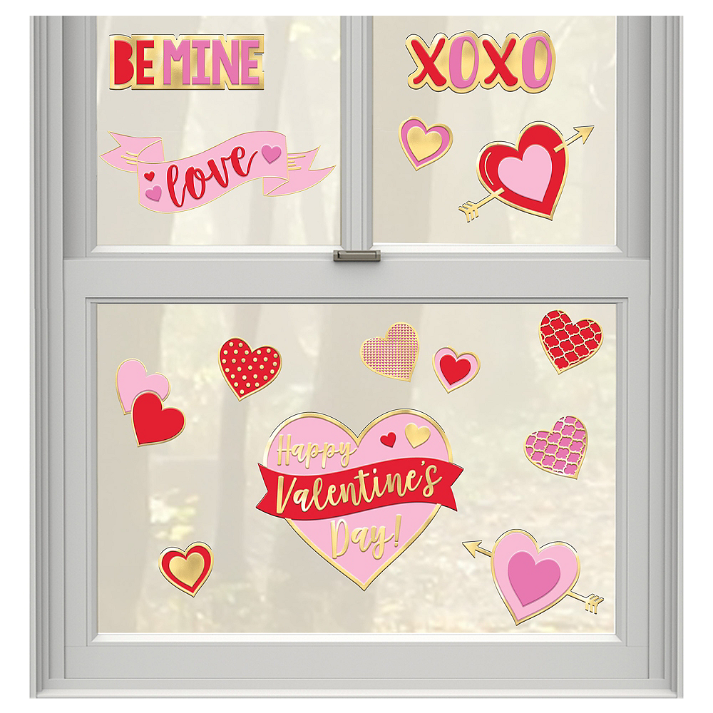 Valentine's Day Gel Cling Decals 15ct Image #1