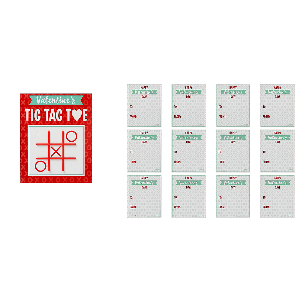Tic-Tac-Toe Valentine Exchange Cards with Favors 12ct Image #1