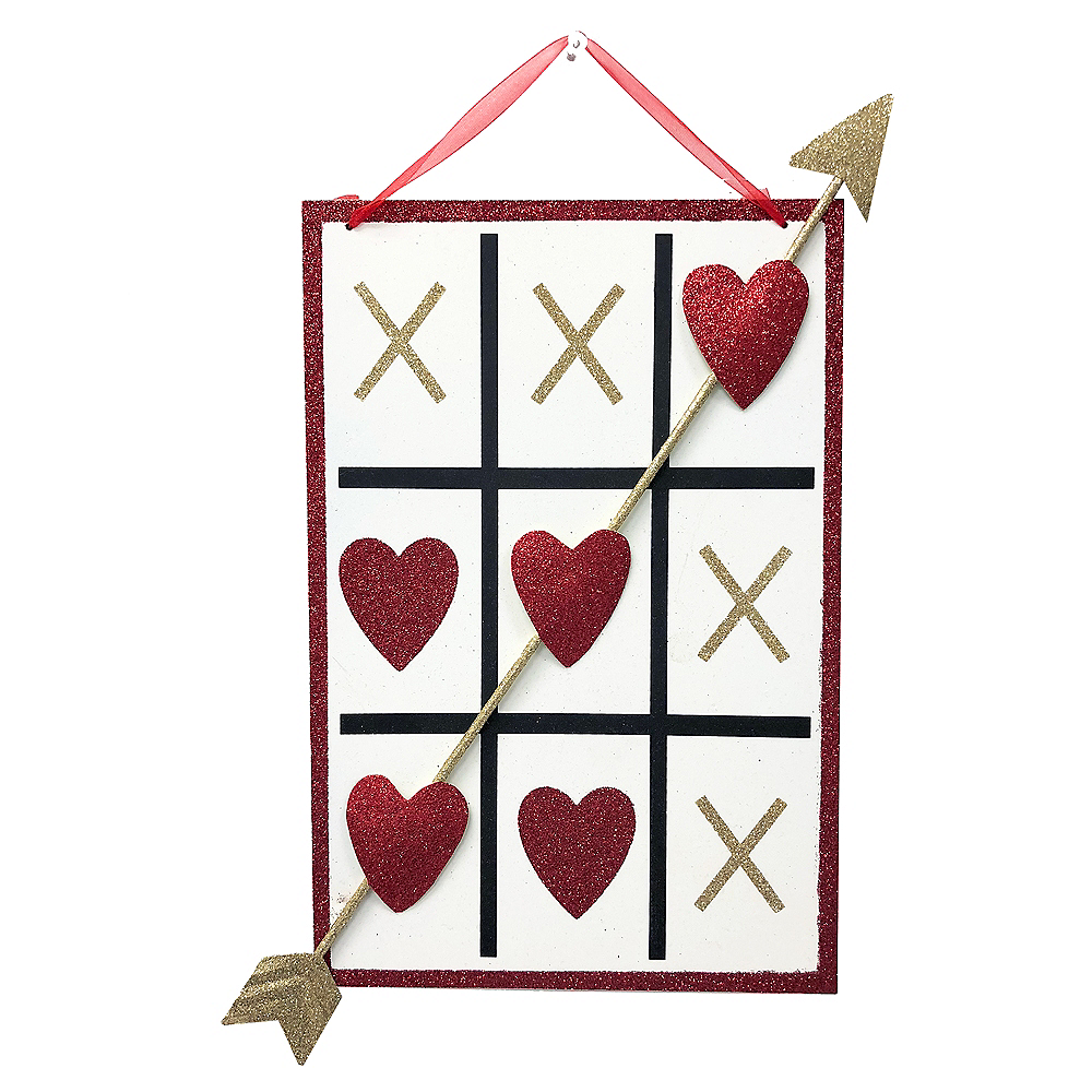 Glitter Tic-Tac-Toe Heart Sign Image #1