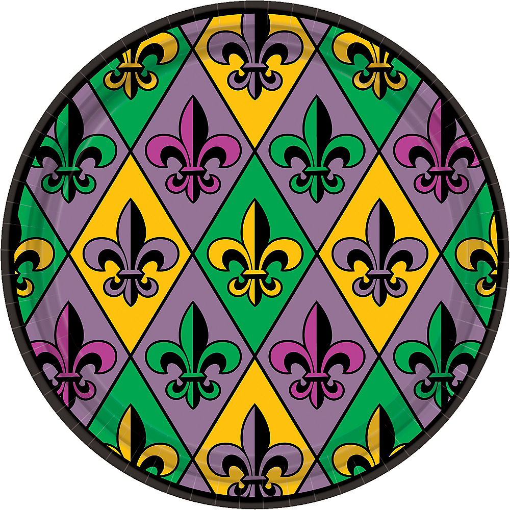 Mardi Gras Fleur-de-Lis Lunch Plates 18ct Image #1