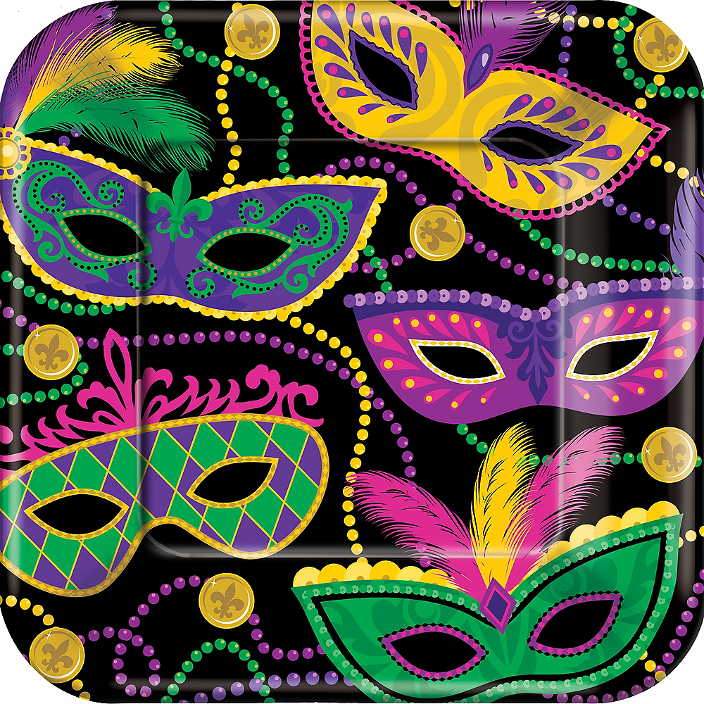 Masquerade Mardi Gras Dinner Plates 8ct Image #1