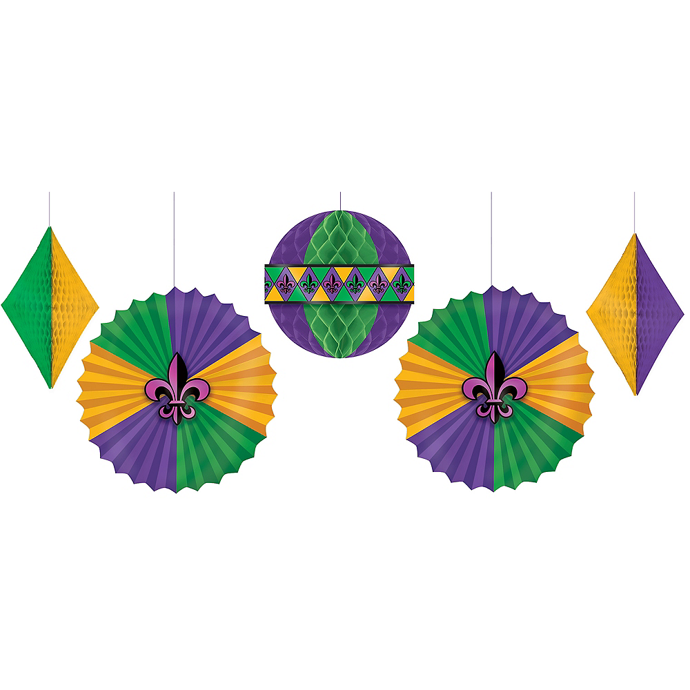 Nav Item for Mardi Gras Honeycomb & Fan Decorations 5ct Image #1