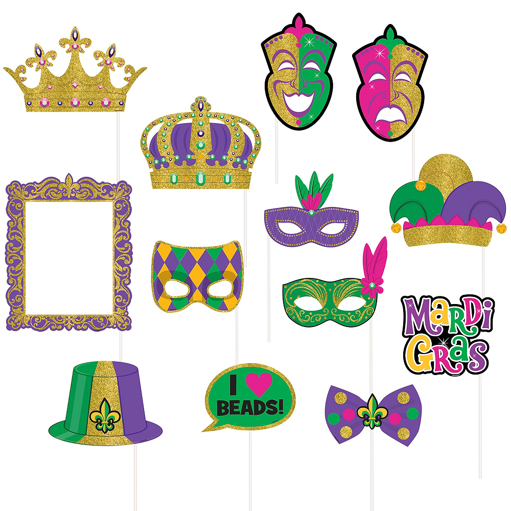 Mardi Gras Photo Booth Props 13ct Image #1