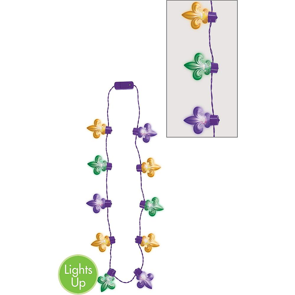 Light Up Fleur De Lis Mardi Gras Necklace