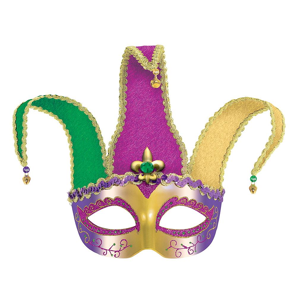 Glitter Jester Mardi Gras Masquerade Mask Image #1