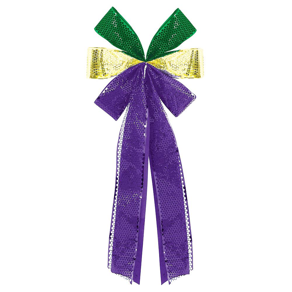 Large Metallic Mardi Gras Bow Image #1