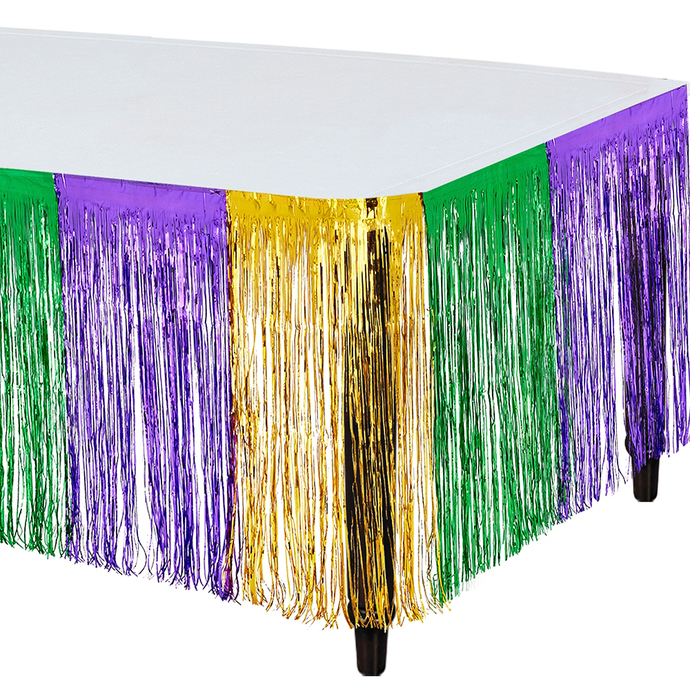 Metallic Mardi Gras Table Skirt Image #1