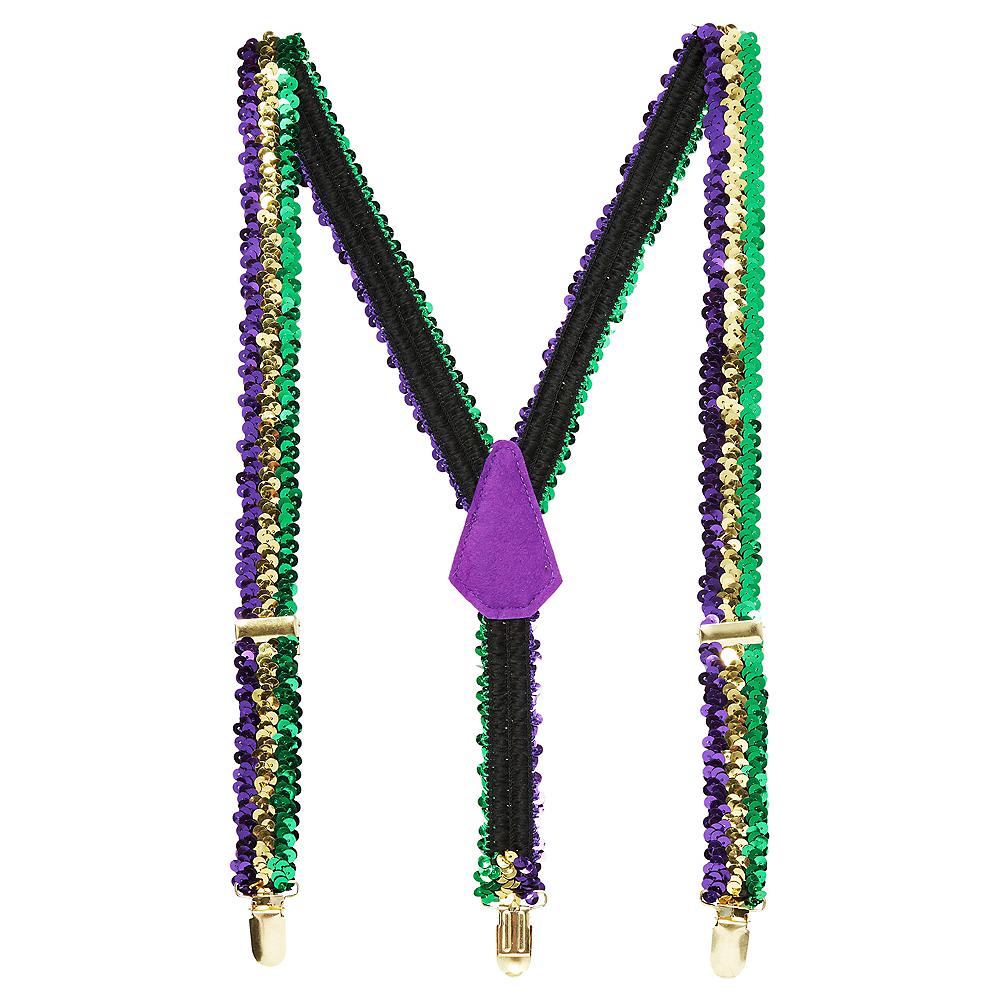 Sequin Mardi Gras Suspenders Image #1