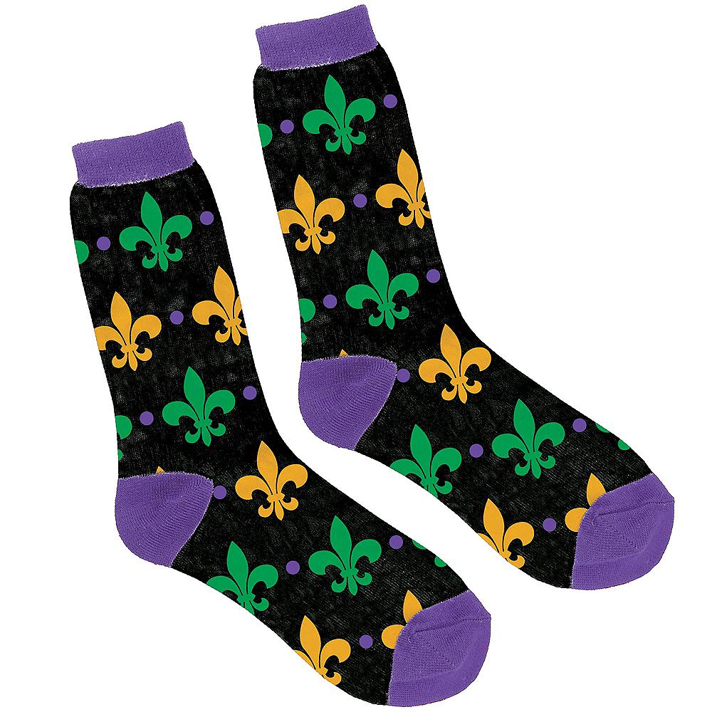 Adult Fleur-de-Lis Mardi Gras Crew Socks Image #1