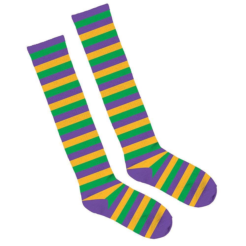 Adult Stripe Mardi Gras Knee-High Socks Image #1