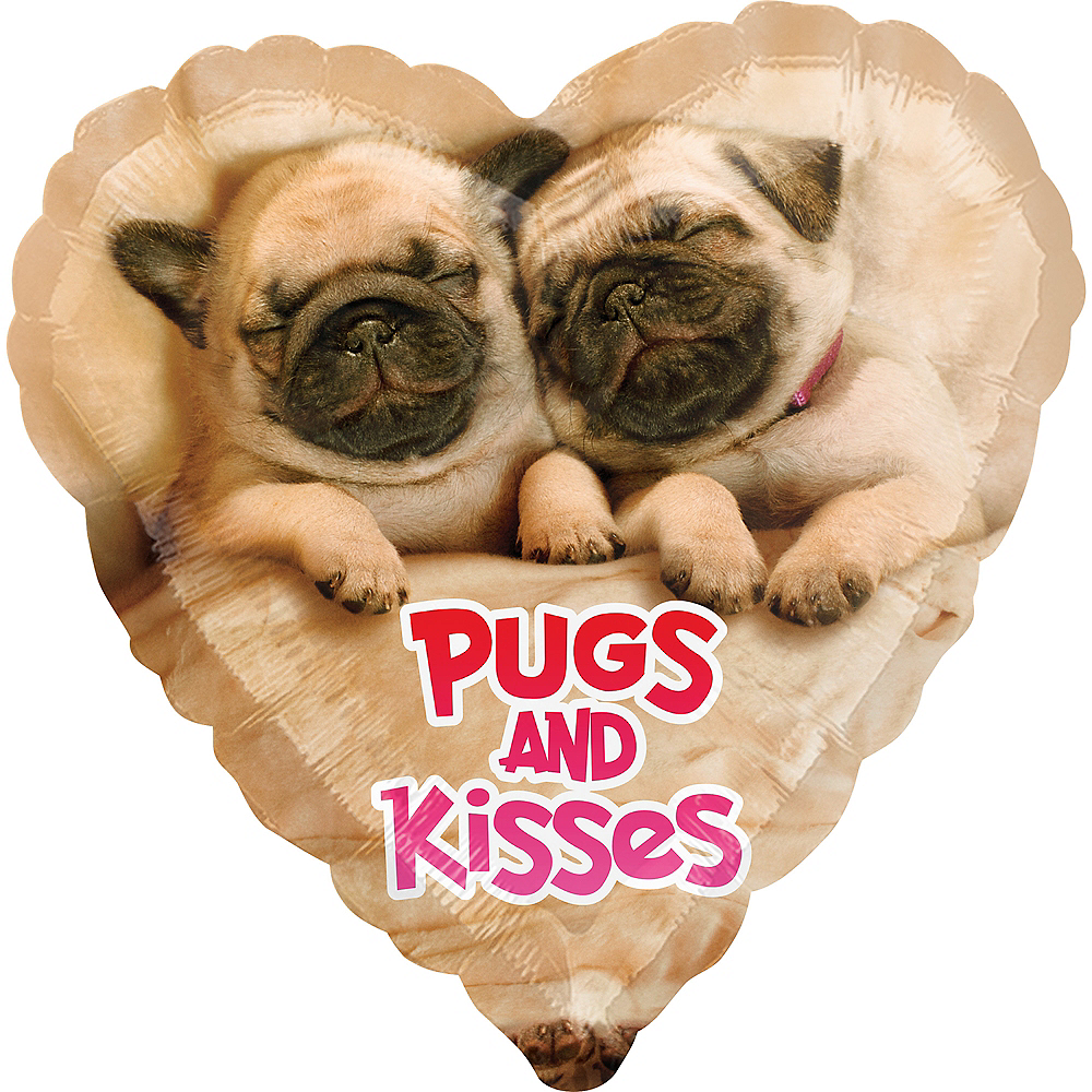 Pugs Kisses Heart Balloon 17in Party City