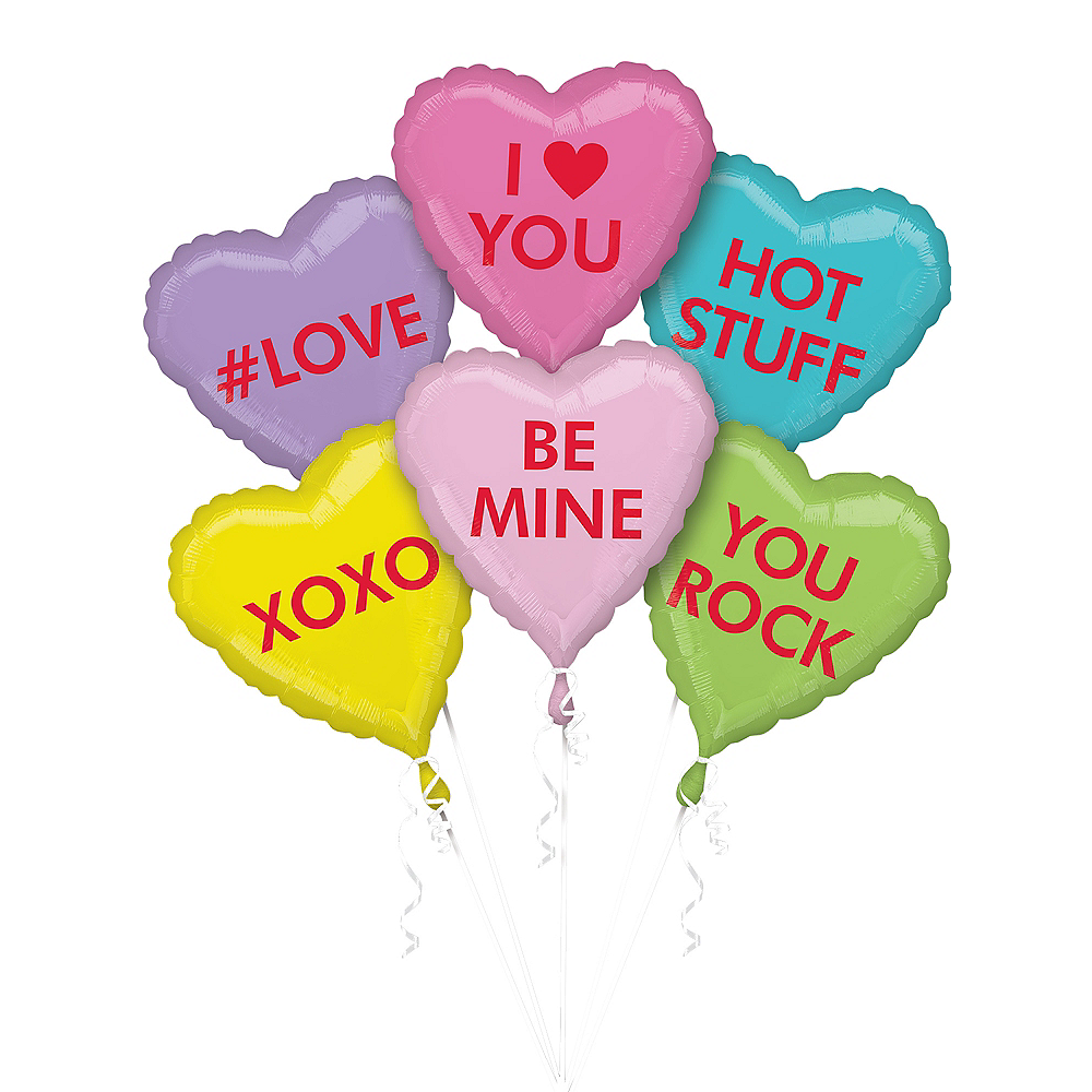 Nav Item for Pastel Conversation Heart Balloons 6ct Image #1