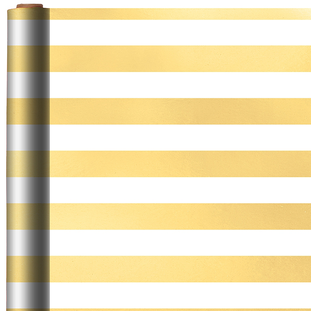 White & Gold Striped Gift Wrap Image #1