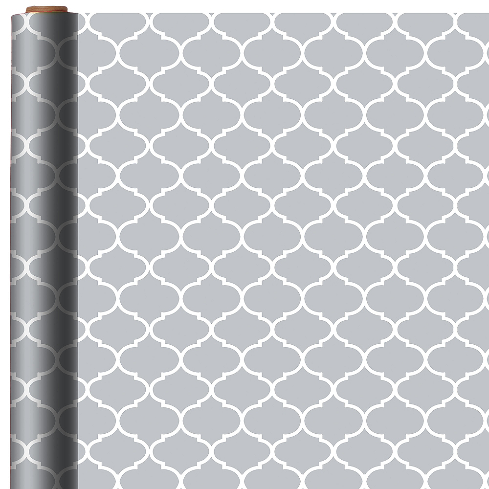 Silver & White Moroccan Gift Wrap Image #1
