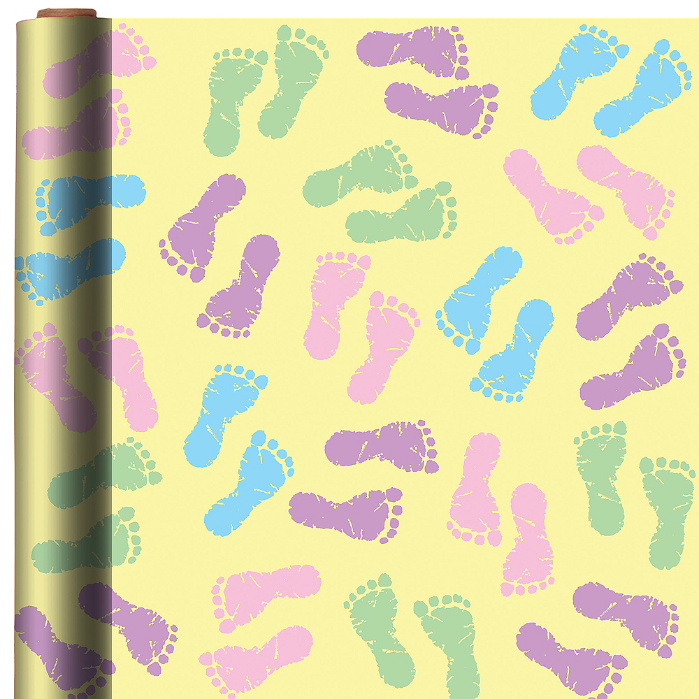 Nav Item for Pastel Footprints Gift Wrap Image #1