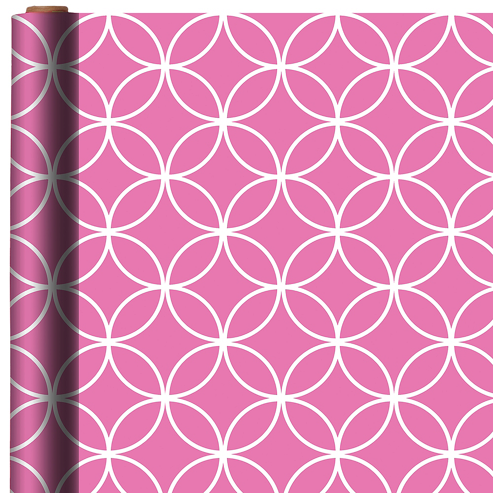 Bright Pink Overlapping Circles Gift Wrap Image #1