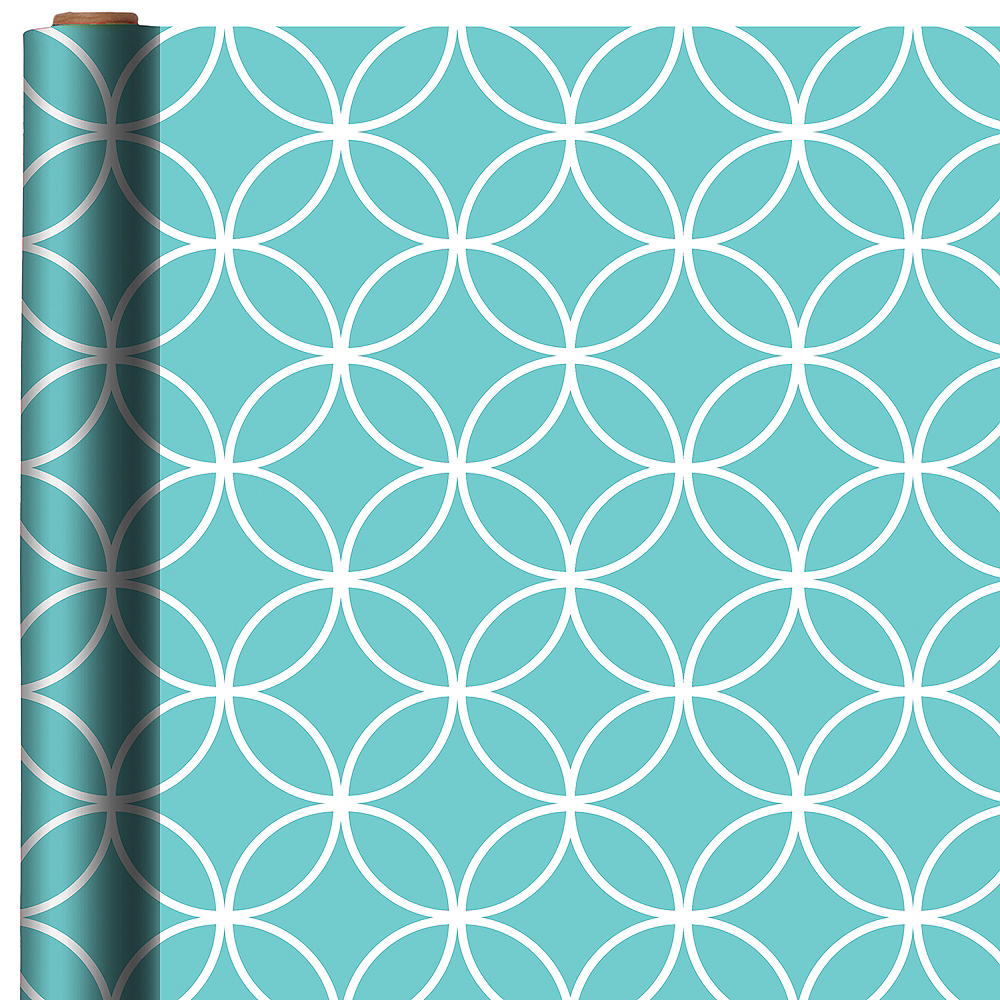 Nav Item for Robin's Egg Blue Overlapping Circles Gift Wrap Image #1
