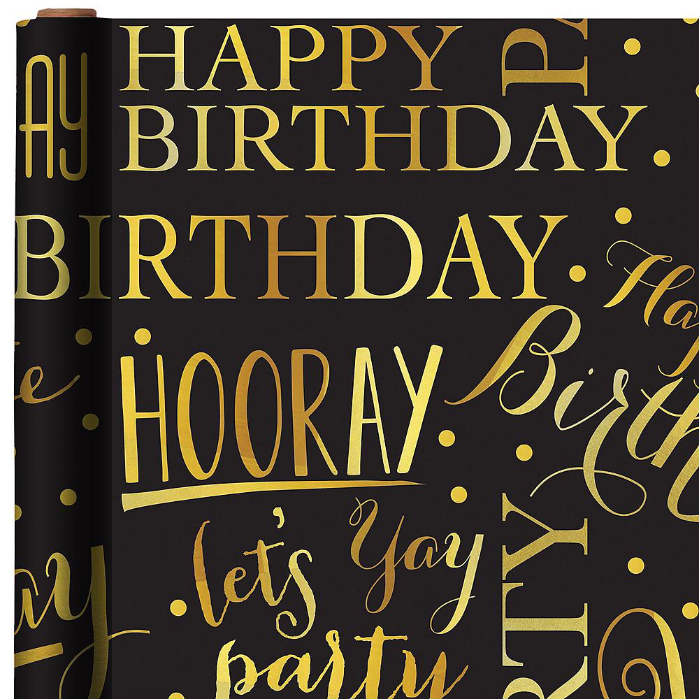 Gold Elegant Birthday Gift Wrap Image 1