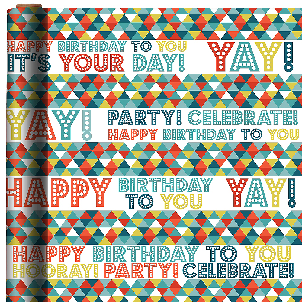 Colorful Triangles Birthday Gift Wrap