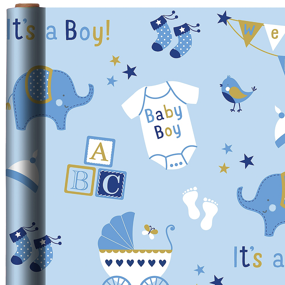 Boy Baby Shower Gift Wrap 16ft X 30in Party City