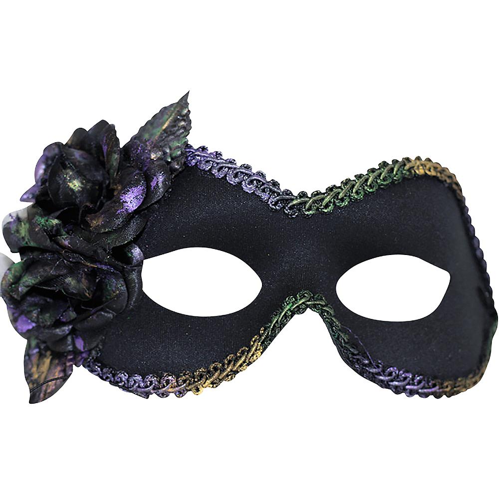 Black Flower Mardi Gras Masquerade Mask Image #1