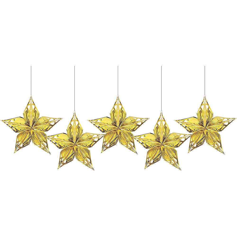 Metallic Gold Star Decorations 5ct Image #1