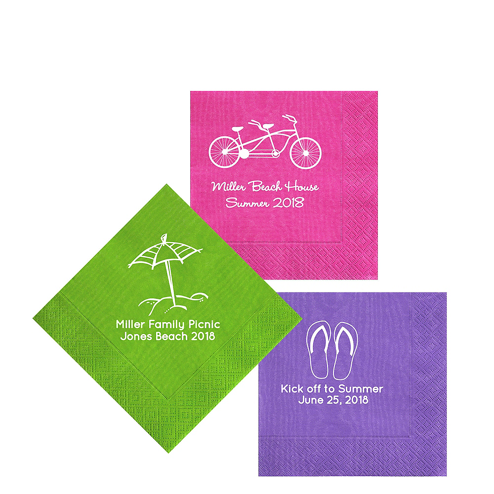 Personalized Summer Moire Beverage Napkins Image #1