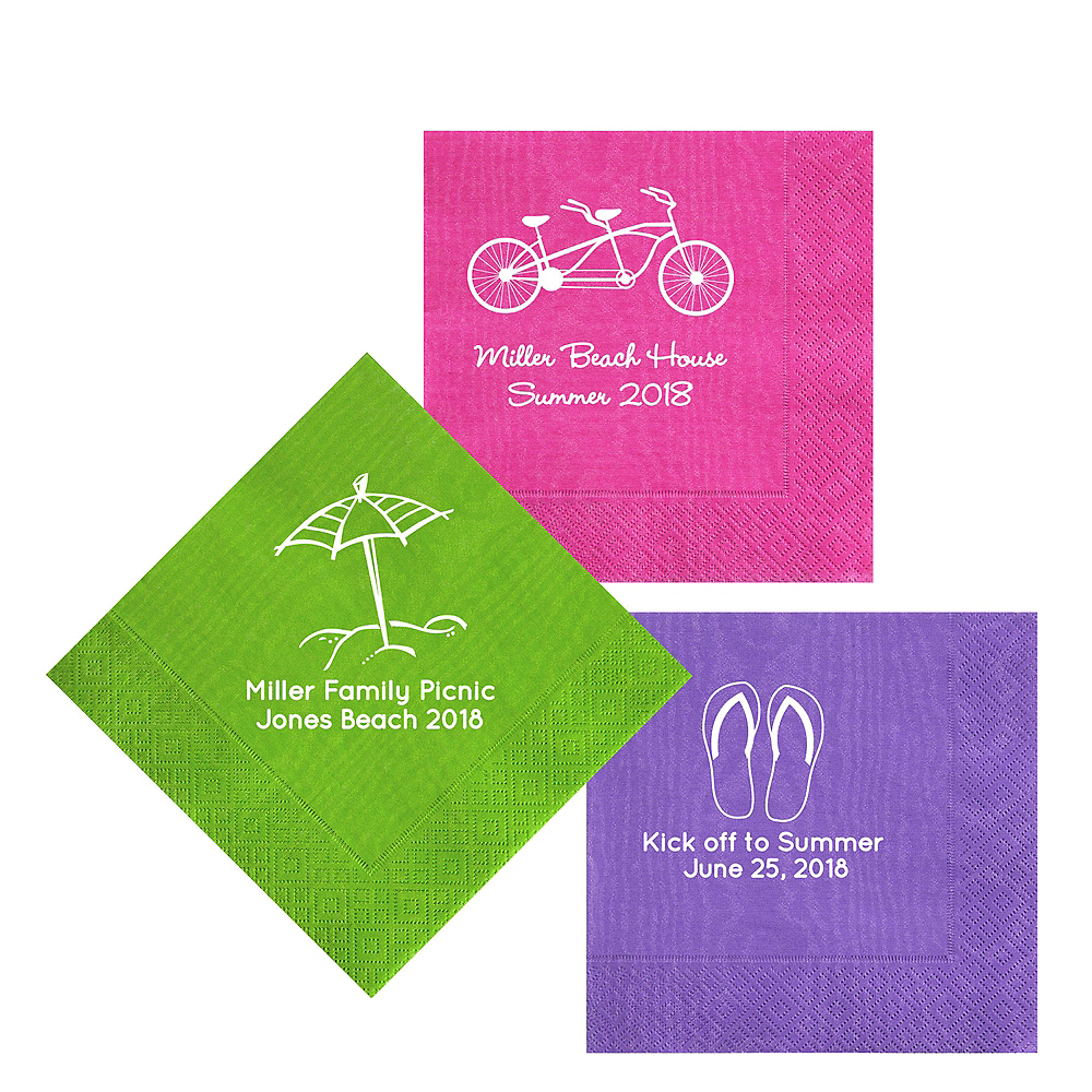 Personalized Summer Moire Lunch Napkins Image #1