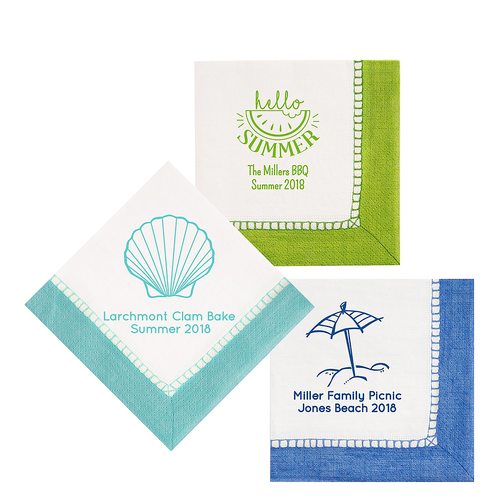 Personalized Summer Bordered Lunch Napkins Image #1