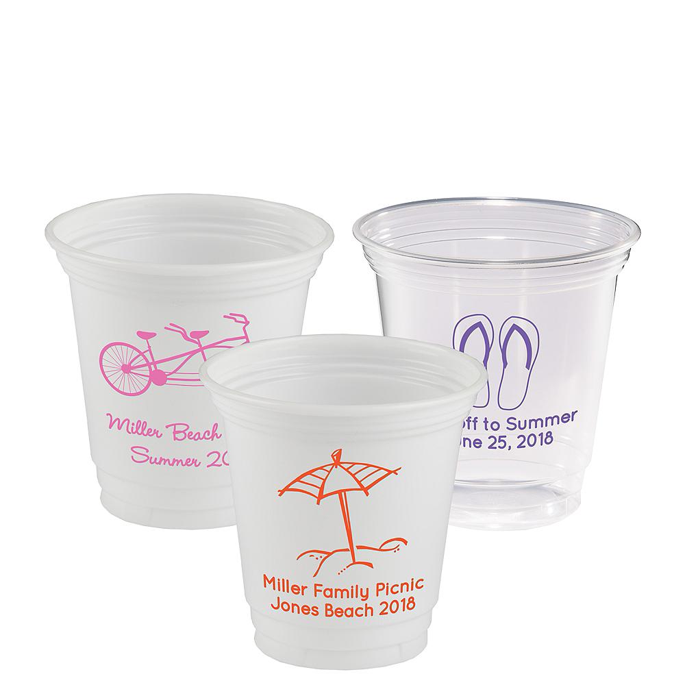 Personalized Summer Plastic Party Cups 12oz Image #1