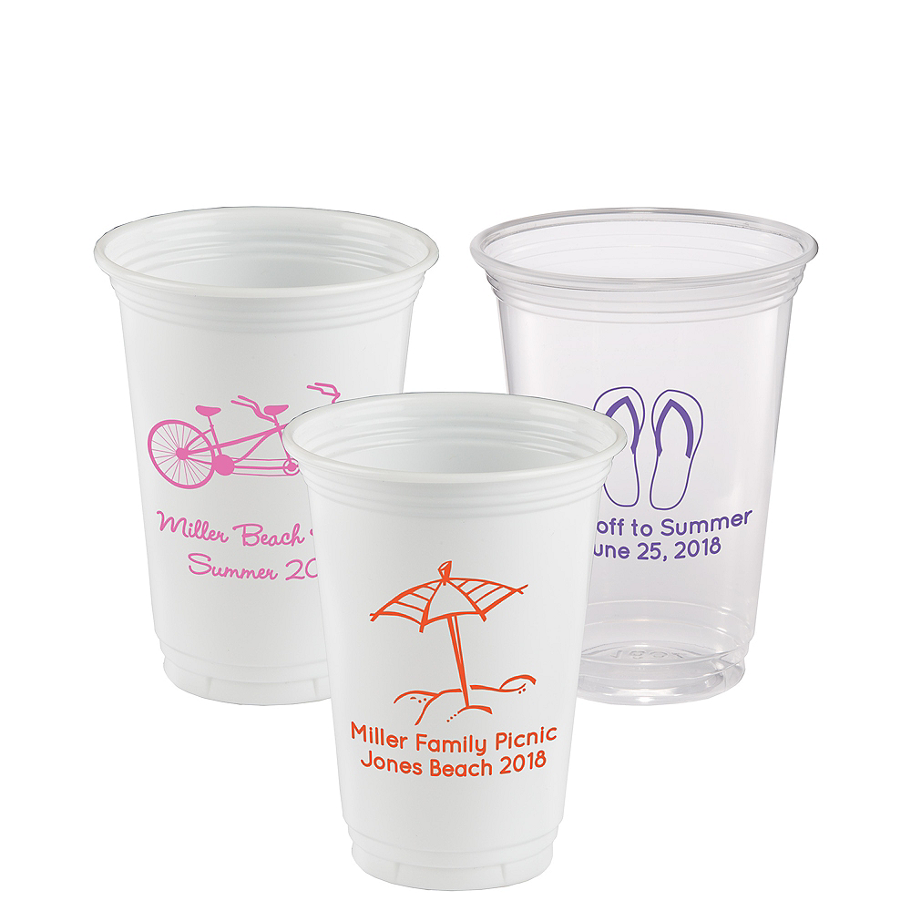Personalized Summer Plastic Party Cups 16oz Image #1
