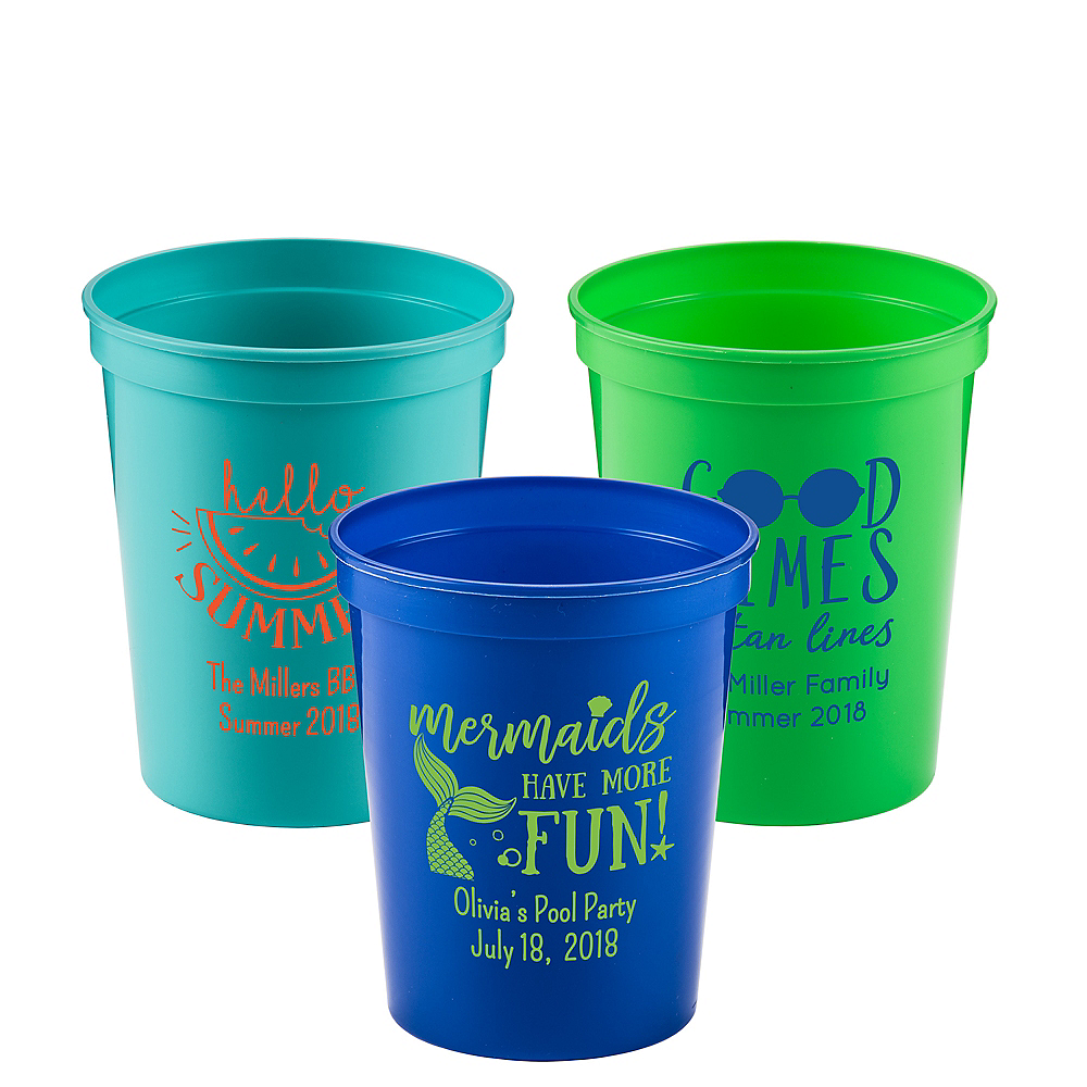 Personalized Summer Plastic Stadium Cups 16oz Image #1