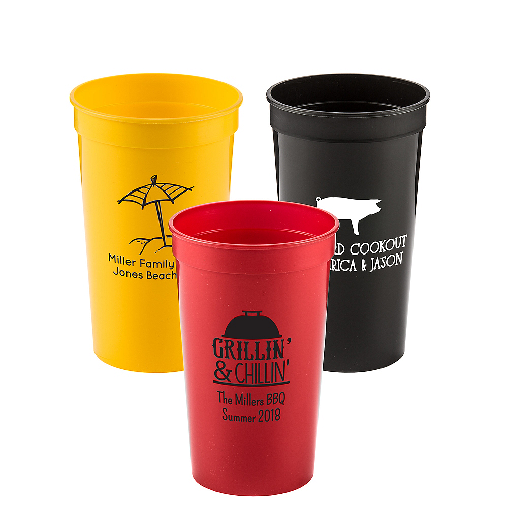 Personalized Summer Plastic Stadium Cups 22oz Image #1