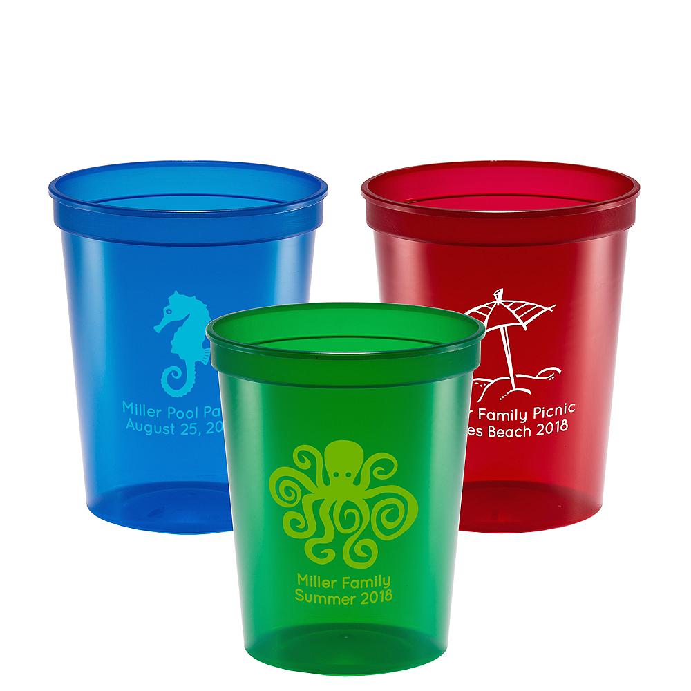 Personalized Summer Translucent Plastic Stadium Cups 16oz Image #1