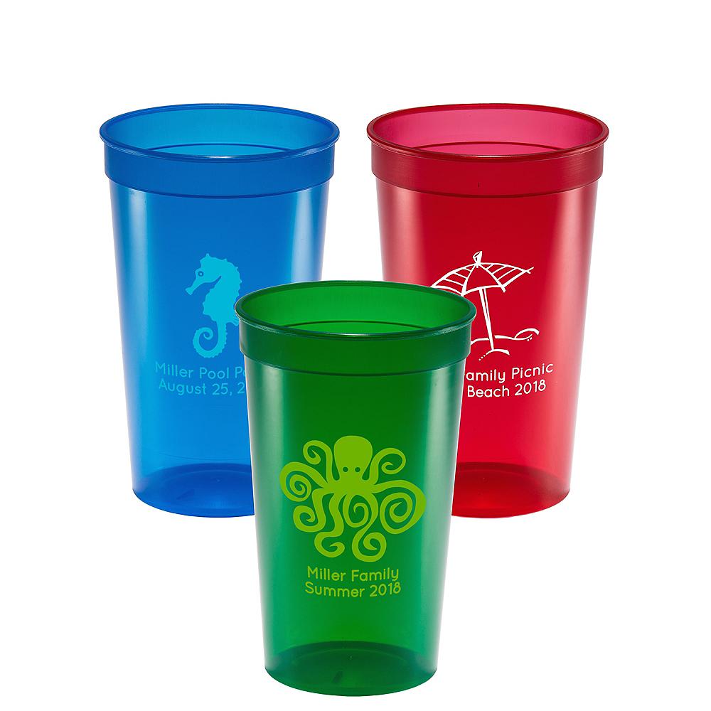 Personalized Summer Translucent Plastic Stadium Cups 22oz Image #1